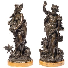 Pair of Bronzes Depicting Poseidon 'Neptune' and Amphitrite
