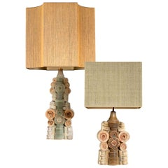 Pair of B.Rooke Ceramic Table Lamps with Custom Made Silk Lampshades René Houben