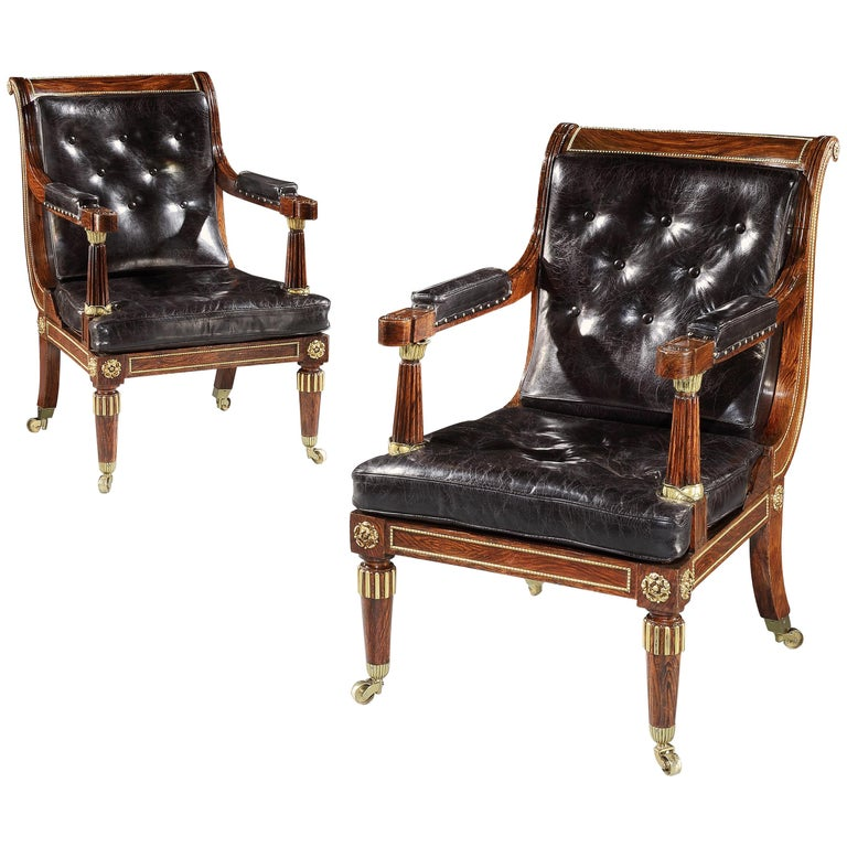 Pair of Brown and Black Rosewood and Leather George IV Library Chairs For Sale