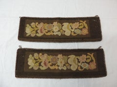 Pair of Brown and Gold Antique Needlepoint Tapestry Curtains Tiebacks