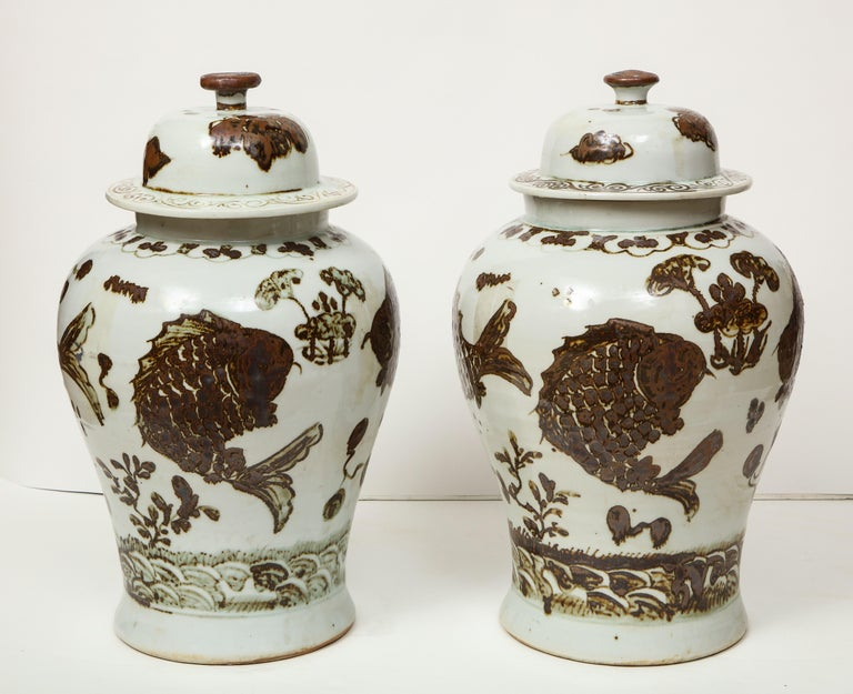 Pair of Brown and White Ginger Jars For Sale 4