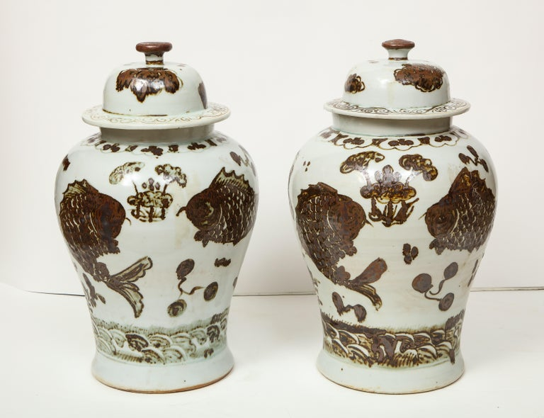 Pair of Brown and White Ginger Jars For Sale 8