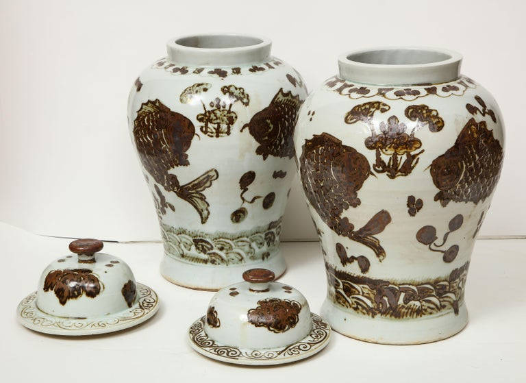 Pair of Brown and White Ginger Jars For Sale 9