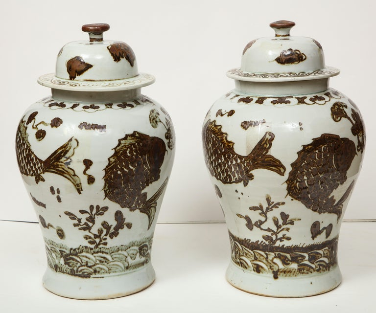 Pair of Brown and White Ginger Jars For Sale 3