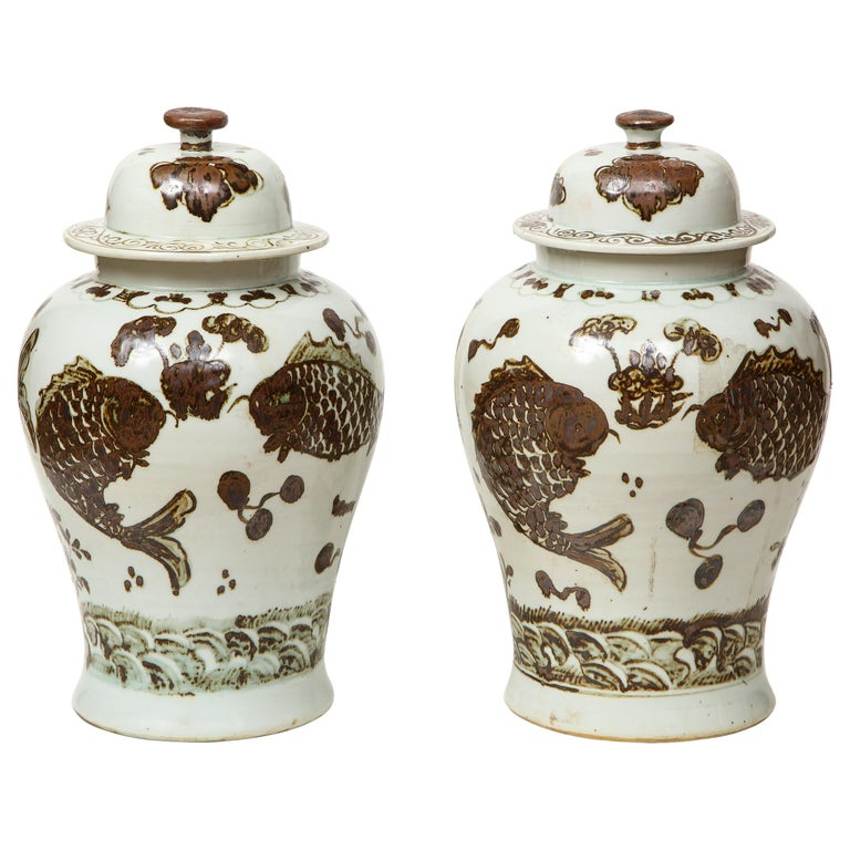 Pair of Brown and White Ginger Jars For Sale