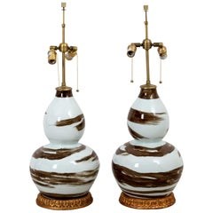 Pair of Brown and White Table Lamps by Bunny Williams