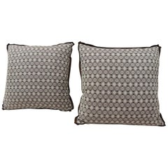 Pair of Brown and White Woven Swedish Decorative Pillows