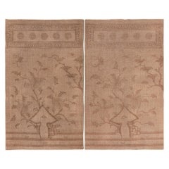 """Pair of Brown Antique Mongolian Flat Weave Kilim Rugs. Size: 5' 2"""" x 8' 8"""", each"""