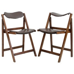Pair of Brown Folding Chairs with Oak Frame
