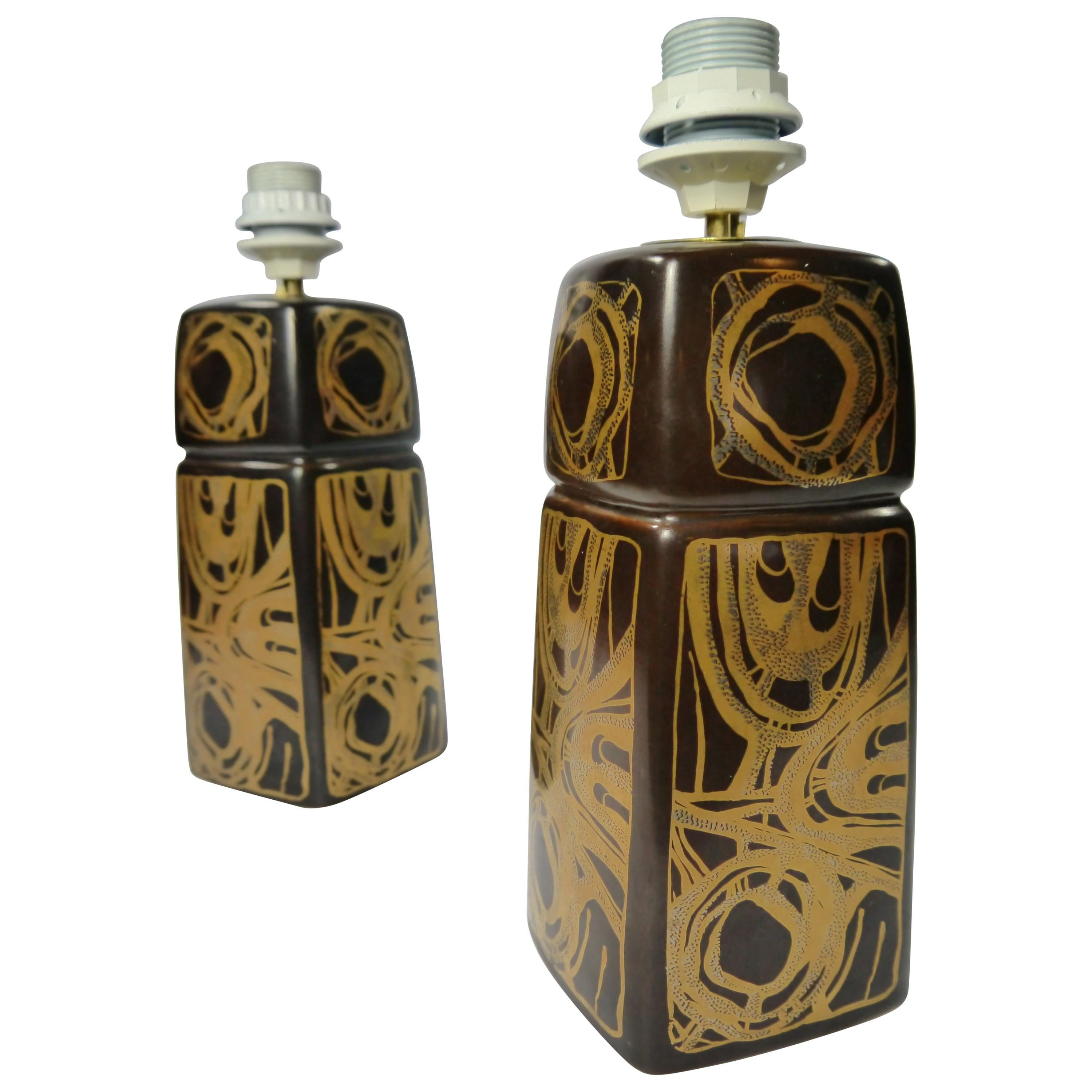 Pair of Brown / Golden Ceramic Lamps by Søholm, Denmark, 1960s