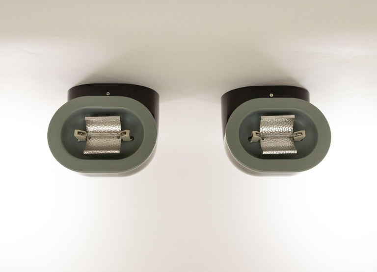 Metal Pair of Brown Gomito Wall Lamps by Gae Aulenti for Stilnovo, 1970s For Sale