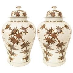 Pair of Brown Jars with Lids