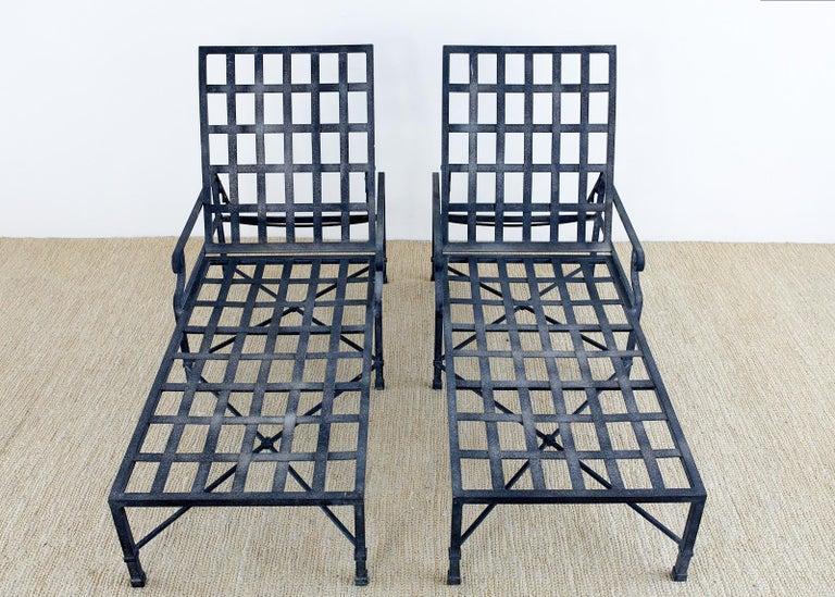 Powder-Coated Pair of Brown Jordan Venetian Aluminum Chaise Lounges For Sale