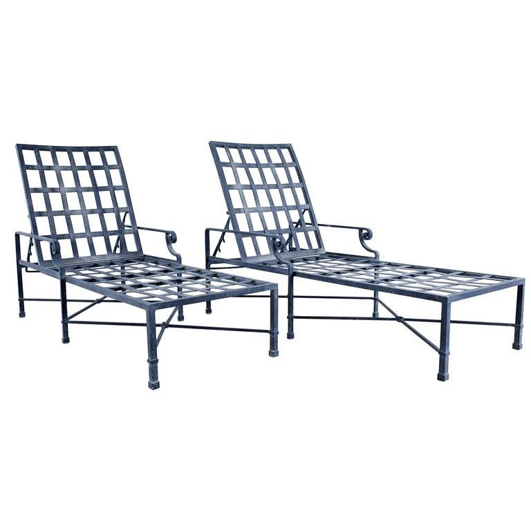 Pair of Brown Jordan Venetian Aluminum Chaise Lounges For Sale