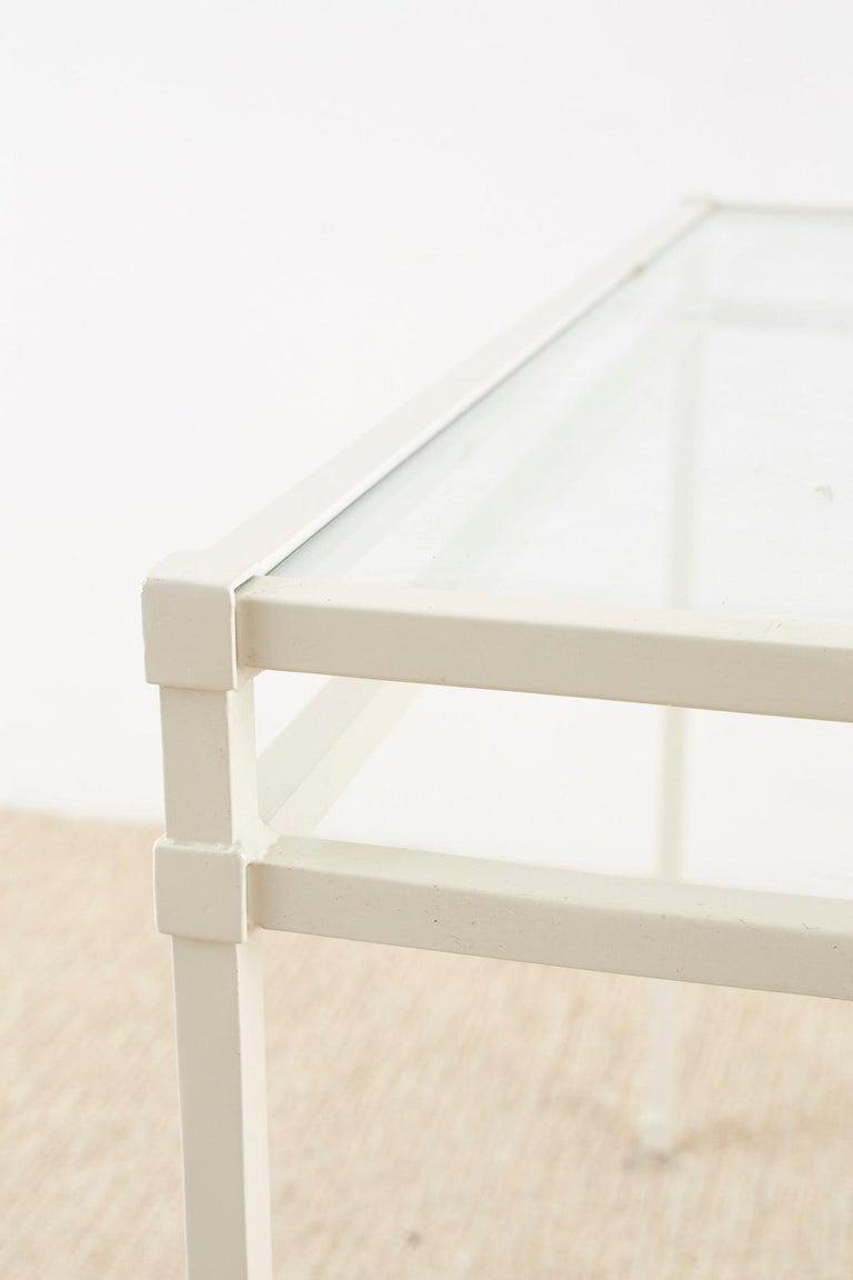 Pair of Brown Jordan Aluminum Patio Garden Console Tables For Sale 8