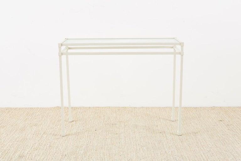 American Pair of Brown Jordan Aluminum Patio Garden Console Tables For Sale