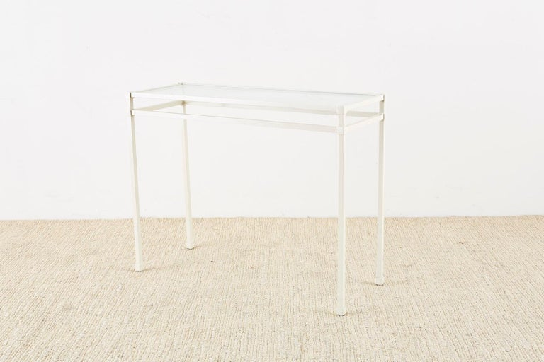 Powder-Coated Pair of Brown Jordan Aluminum Patio Garden Console Tables For Sale