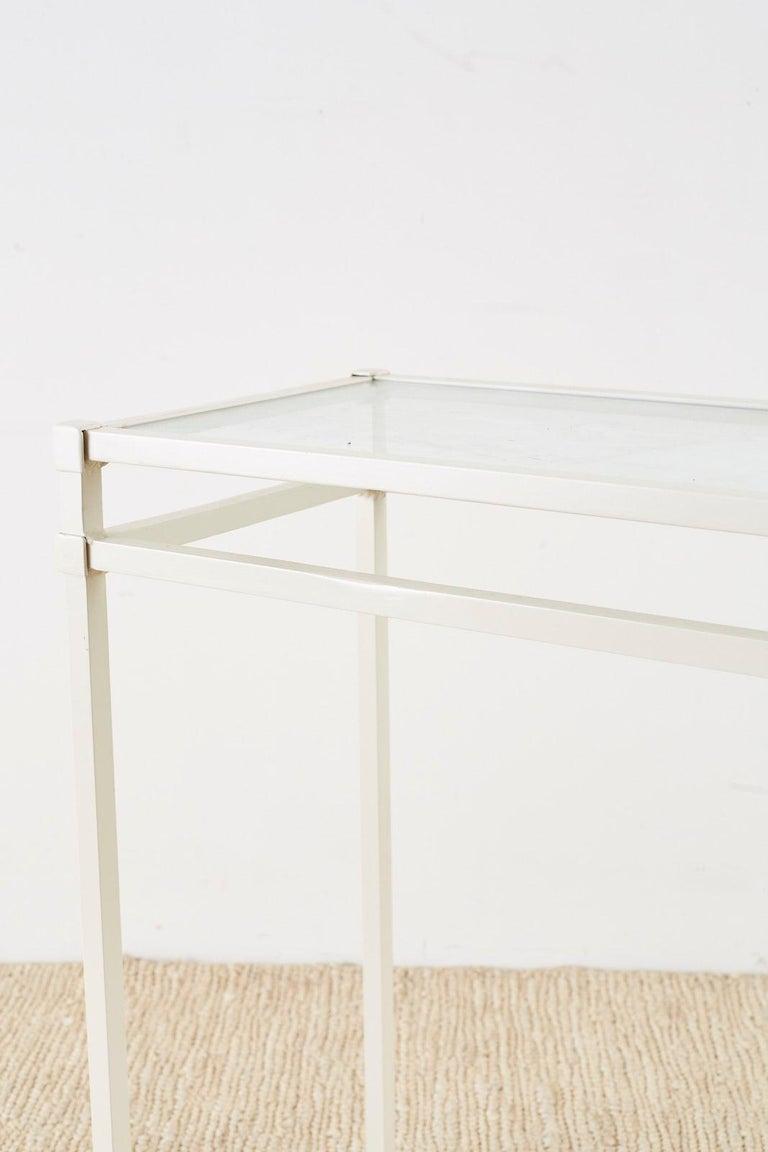 20th Century Pair of Brown Jordan Aluminum Patio Garden Console Tables For Sale