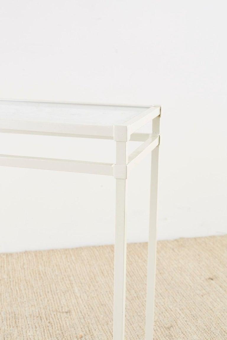 Glass Pair of Brown Jordan Aluminum Patio Garden Console Tables For Sale