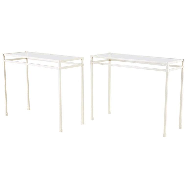 Pair of Brown Jordan Aluminum Patio Garden Console Tables For Sale