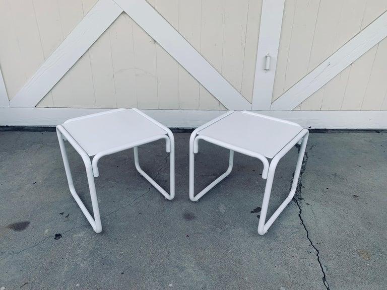 Pair of Brown Jordan Patio Table in White Metal For Sale 2