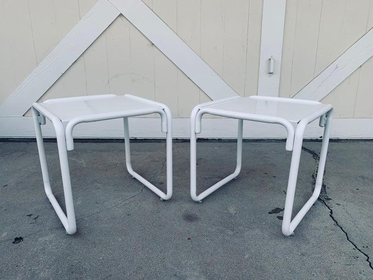 Pair of Brown Jordan Patio Table in White Metal For Sale 3