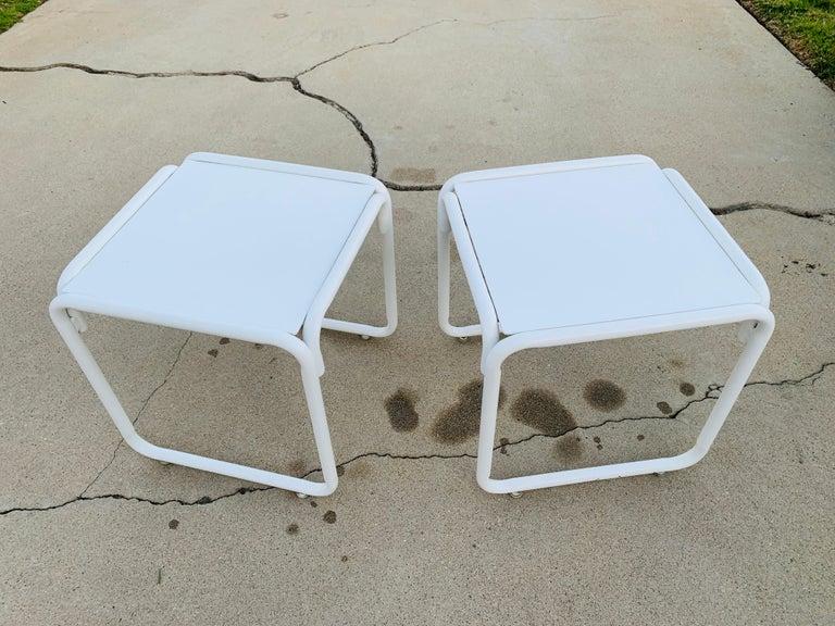 Pair of Brown Jordan Patio Table in White Metal For Sale 4