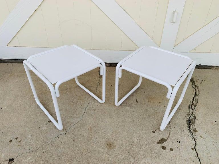 Pair of Brown Jordan Patio Table in White Metal For Sale 5