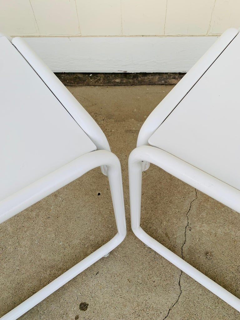 Pair of Brown Jordan Patio Table in White Metal For Sale 9