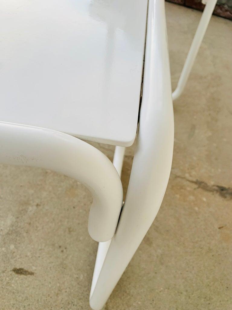 Pair of Brown Jordan Patio Table in White Metal For Sale 11