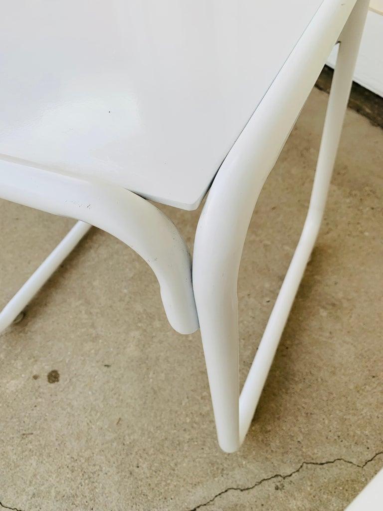 Pair of Brown Jordan Patio Table in White Metal For Sale 12