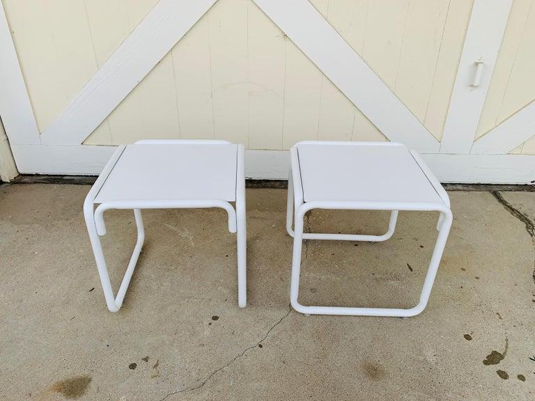 Mid-Century Modern Pair of Brown Jordan Patio Table in White Metal For Sale