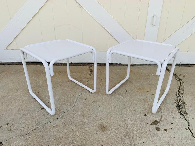 Powder-Coated Pair of Brown Jordan Patio Table in White Metal For Sale
