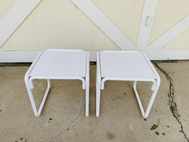 Mid-20th Century Pair of Brown Jordan Patio Table in White Metal For Sale