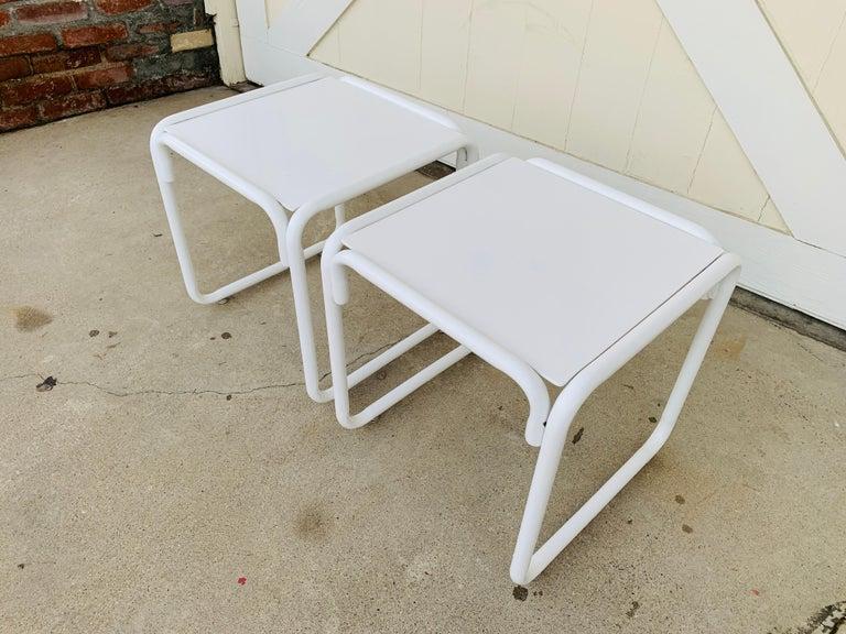 Steel Pair of Brown Jordan Patio Table in White Metal For Sale