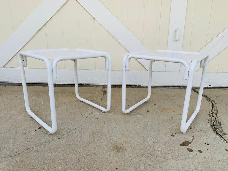 Pair of Brown Jordan Patio Table in White Metal For Sale 1