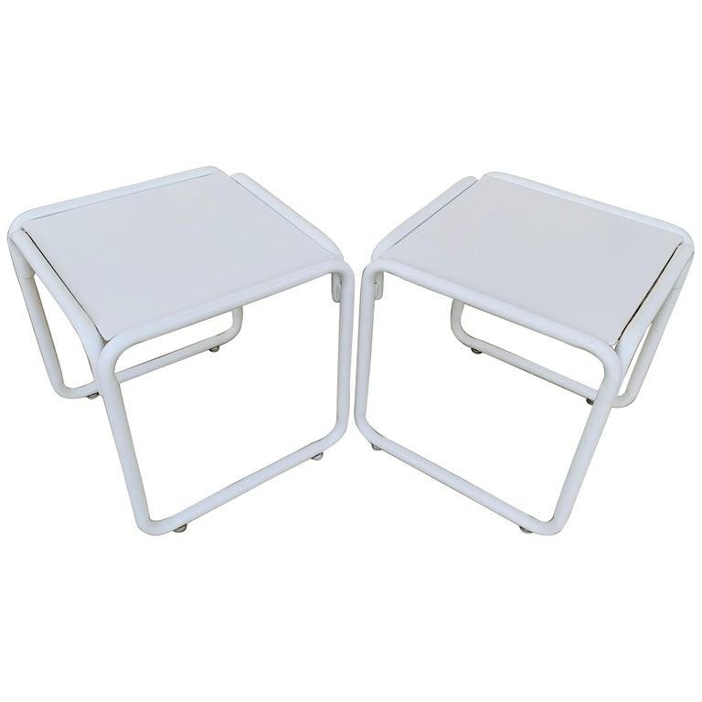 Pair of Brown Jordan Patio Table in White Metal For Sale