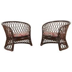 Pair of Brown Jordan Rattan Wicker Club Chairs