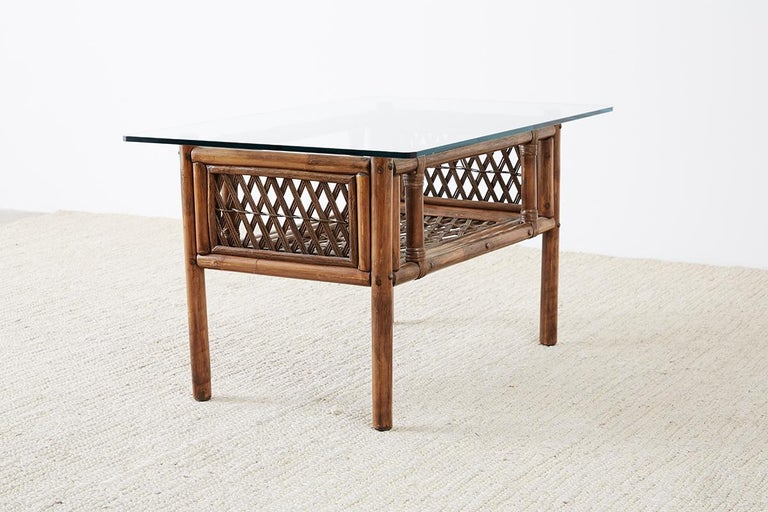 Pair of Brown Jordan Style Bamboo Rattan Side Tables For Sale 8