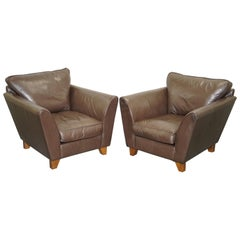 Pair of Brown Leather Armchairs Contemporary Club Armchairs Elegant Lines