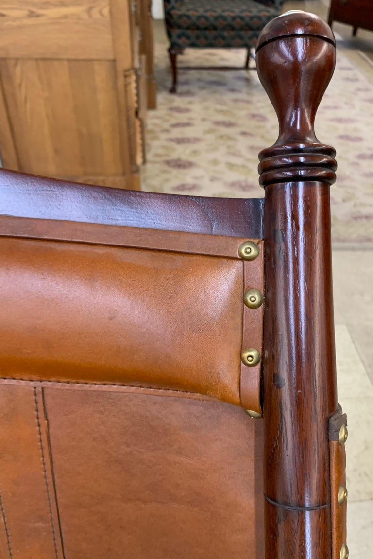 Pair of Brown Leather Campaign Folding Chairs by Palecek For Sale 6