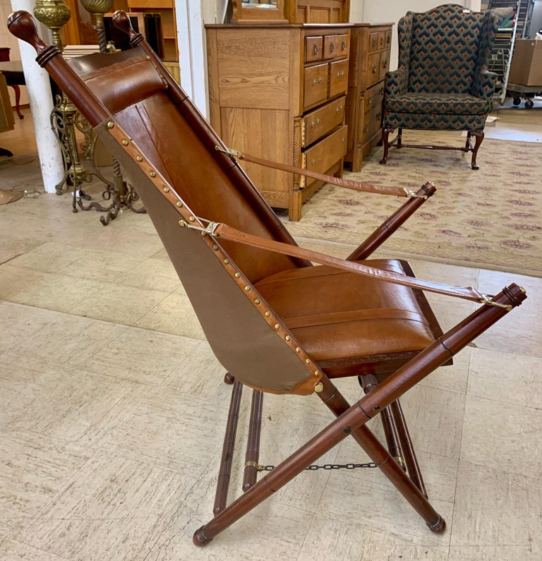Pair of Brown Leather Campaign Folding Chairs by Palecek For Sale 1