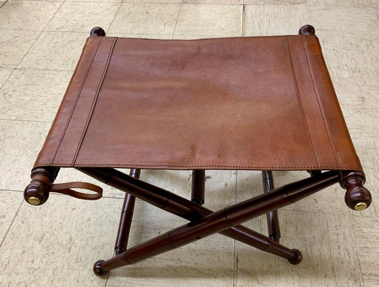 Pair of Brown Leather Campaign Folding Chairs by Palecek For Sale 3