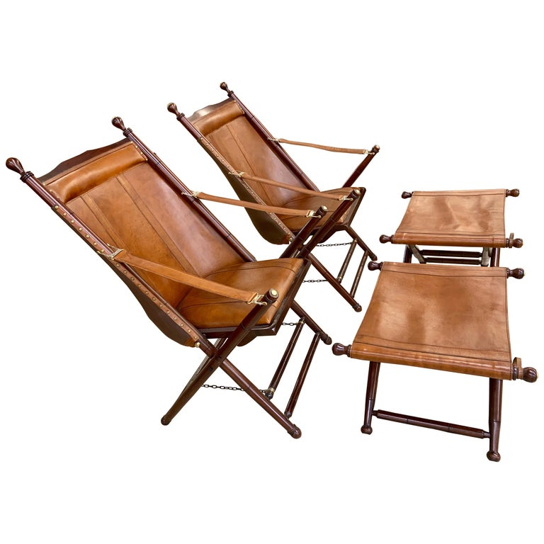 Pair of Brown Leather Campaign Folding Chairs by Palecek For Sale