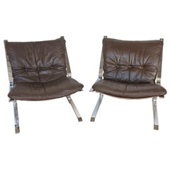 Pair of Brown Leather Pirate Chairs by Elsa and Nordahl Solheim for Rykken