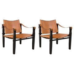 Pair of Brown Leather Safari Chairs by Folding Furniture Co.