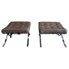 Pair of Brown Leather Tufted Ottomans