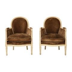 Pair of Brown Louis XVI Style Bergères