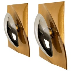 Pair of Brown Metal Glass Space Age Wall Lights, Italy, 1970s