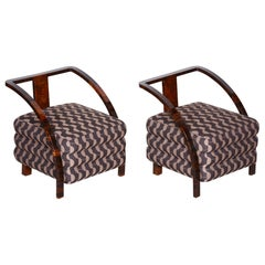 Pair of Brown Restored Art Deco Armchairs, New Professional Upholstery, 1920s